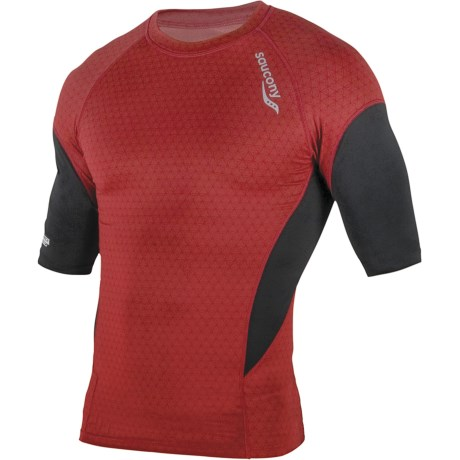 Saucony Amp Pro2 Training Compression Shirt - Short Sleeve (For Men) in Racer Red