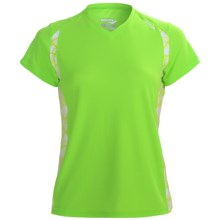 Saucony Axiom Printed Shirt - UPF 25, Short Sleeve (For Women) in Nimble Green - Closeouts