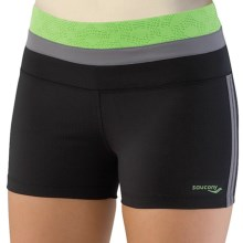 Saucony Cha Cha LX Tight Shorts - UPF 50+ (For Women) in Black/Envy - Closeouts