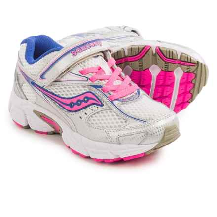 Saucony Cohesion 8 A/C Running Shoes (For Little and Big Kids) in White/Silver/Coral - Closeouts