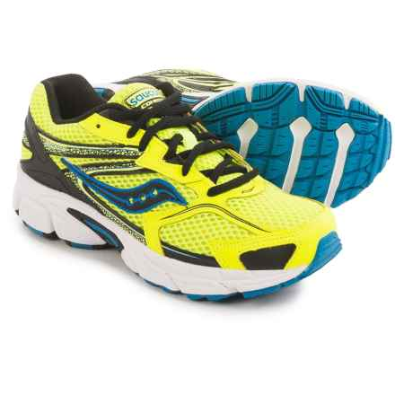 Saucony Cohesion 9 LTT Running Shoes (For Big Boys) in Citron/Black/Blue - Closeouts