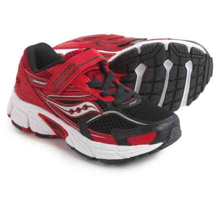 Saucony Cohesion 9 Strap Shoes (For Little and Big Boys) in Black/Red - Closeouts