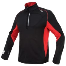 Saucony DryLete® Sportop Pullover - Wrist Light, Zip Neck, Long Sleeve (For Men) in Black/Strong Red - Closeouts