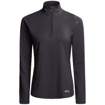 Saucony dryLETE® Thermal Sport Shirt - Zip Neck, Long Sleeve (For Women) in Black/Black