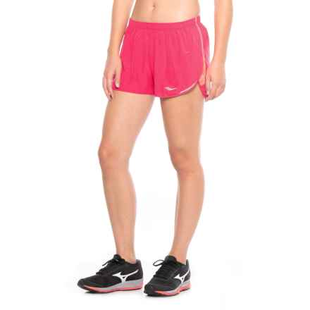 Saucony Endorphin Split Shorts - Built-In Briefs (For Women) in Raspberry Beret - Closeouts