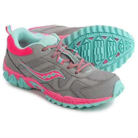 Saucony Escape Athletic Shoes (For Youth Girls) in Grey/Coral/Turquoise - Closeouts