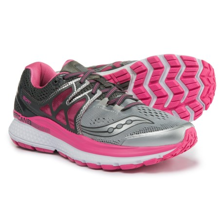 Saucony Hurricane ISO 3 Running Shoes (For Women) in Grey/Pink/White