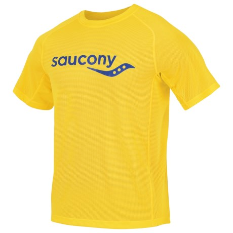 Saucony Hydralite Shirt - Short Sleeve (For Men) in Blazing Yellow/Cobalt