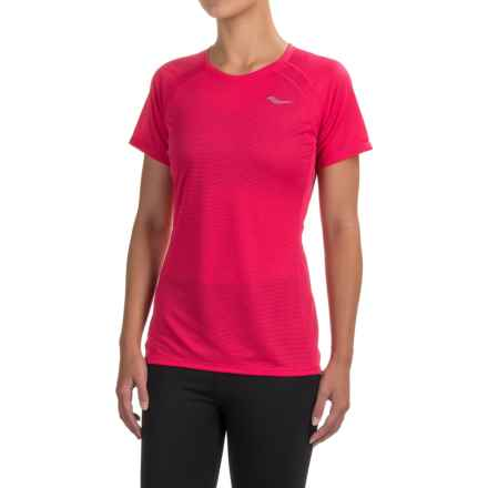 Saucony Hydralite Shirt - Short Sleeve (For Women) in Raspberry Beret - Closeouts