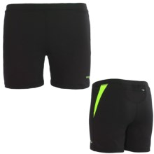Saucony Ignite Tight Shorts - UPF 50+ (For Women) in Black/Nimble Green - Closeouts