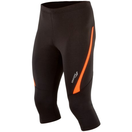 Saucony Inferno 3/4 Fitted Tights - UPF 50+ (For Men) in Black/Vizipro Orange