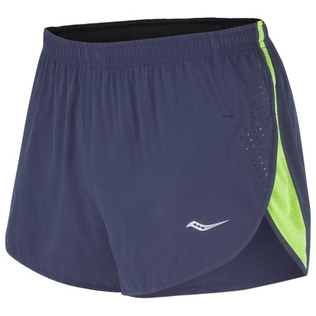 "Saucony Inferno Split Running Shorts - 3"", Inner Brief (For Men) in Navy/Acid Green"