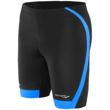 Saucony Inferno Tight Shorts (For Men) in Black/Astro Blue - Closeouts