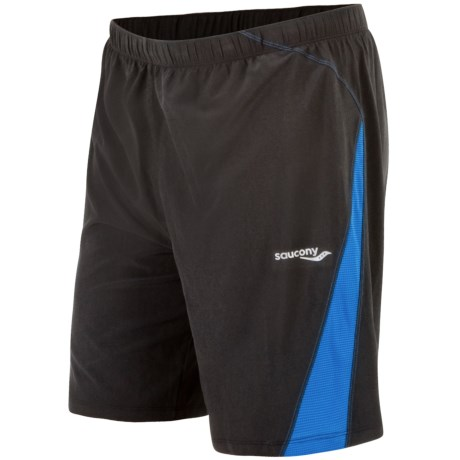 Saucony Interval 2-1 Shorts - Inner Compression Short (For Men) in Black/Enduro Blue