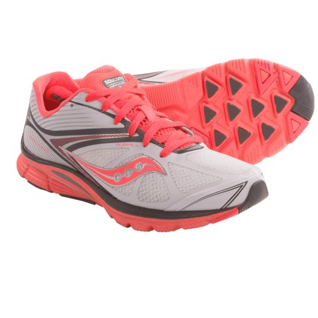 Saucony Kinvara 4 Running Shoes (For Women) in White/Gry/Vizipro Coral