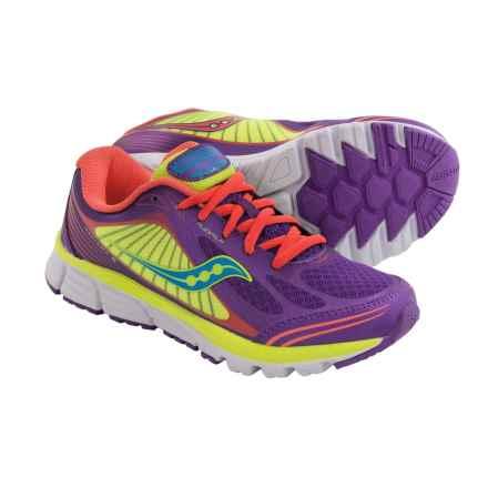 Saucony Kinvara 5 Running Shoes (For Big Kids) in Purple/Coral/Citron - Closeouts