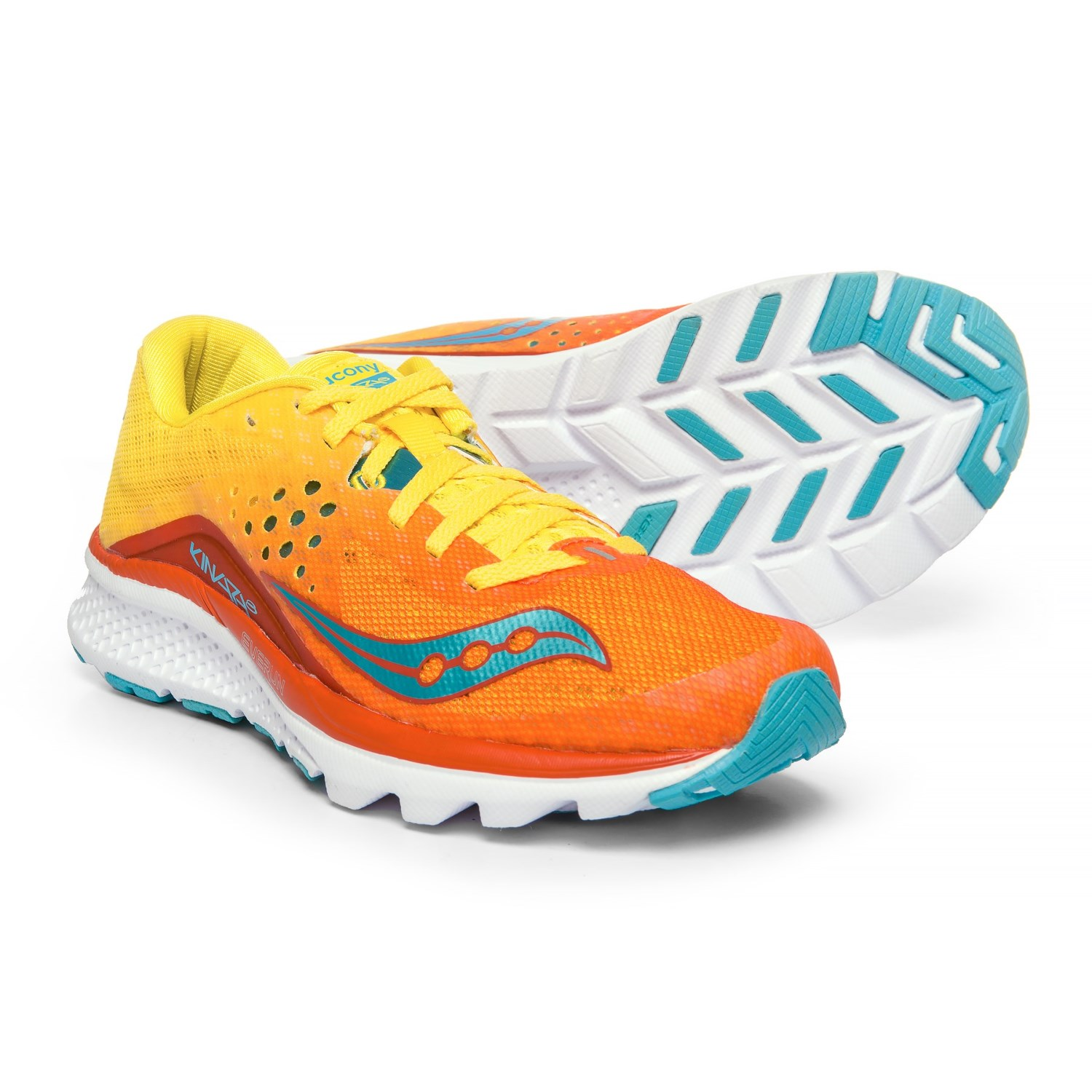 Saucony Kinvara 8 Running Shoes (For Women) in Orange Yellow Blue 91b8b4d3b
