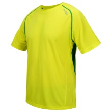 Saucony Kinvara Shirt - UPF 40-50+, Short Sleeve (For Men) in Sipher/Green Light - Closeouts