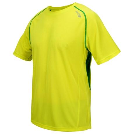 Saucony Kinvara Shirt - UPF 40-50+, Short Sleeve (For Men) in Sipher/Green Light