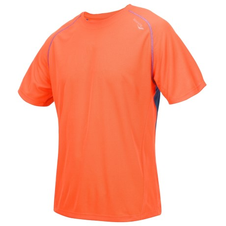 Saucony Kinvara Shirt - UPF 40-50+, Short Sleeve (For Men) in Vizipro Orange/ Enduro Blue