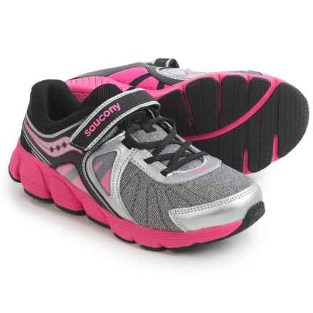 Saucony Kotaro 3 Athletic Shoes (For Youth Girls) in Silver/Black/Pink - Closeouts