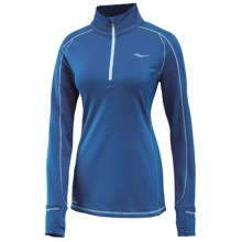 Saucony Omni Shirt - Zip Neck, Long Sleeve (For Women) in Marine Blue/Morning Dew - Closeouts