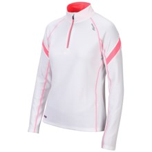 Saucony Optimal Sport Top - Zip Neck, Long Sleeve (For Women) in White/Vizipro Pink - Closeouts