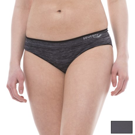 Saucony Panties - 2-Pack, Bikini Briefs (For Women) in Black Space Dye/Carbon