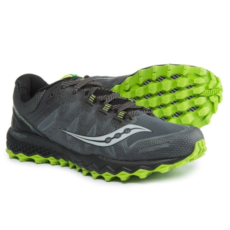 Saucony Peregrine 7 Trail Running Shoes (For Men) in Grey/Black/Lime