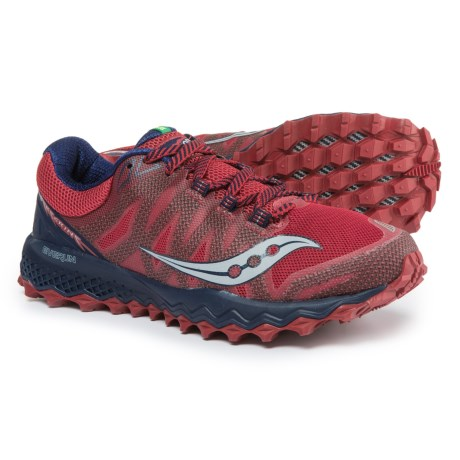 Saucony Peregrine 7 Trail Running Shoes (For Men) in Red/Navy