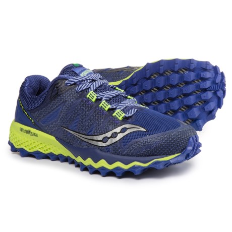 saucony Peregrine 7 Running Shoes Women blue/citron US 7 1v4EYhfZg