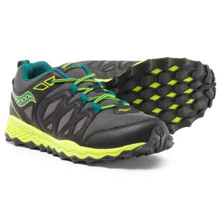 Saucony Peregrine Shield Running Shoes (For Boys) in Black/Lime/Green - Closeouts