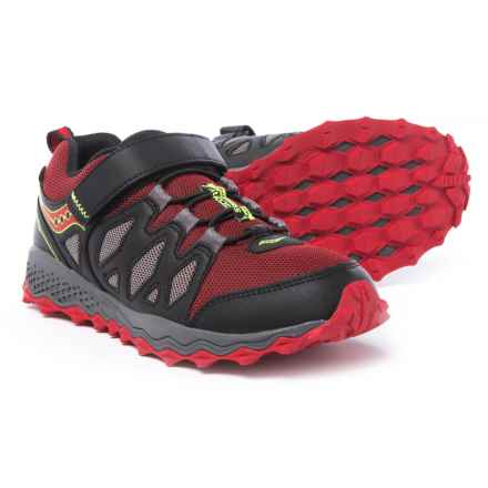 Saucony Peregrine Shield Running Shoes (For Boys) in Black/Red/Citron - Closeouts