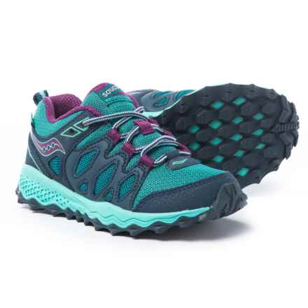 Saucony Peregrine Shield Running Shoes (For Girls) in Navy/Turquoise/Purple - Closeouts