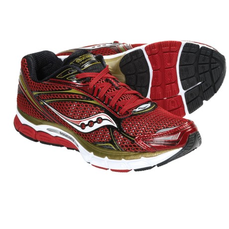 Saucony PowerGrid Triumph 9 Running Shoes (For Men) in Red/White/Gold