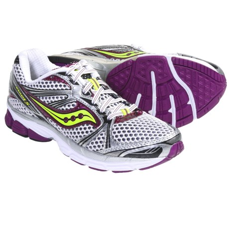 Saucony ProGrid Guide 5 Running Shoes (For Women) in White/Purple/Citron