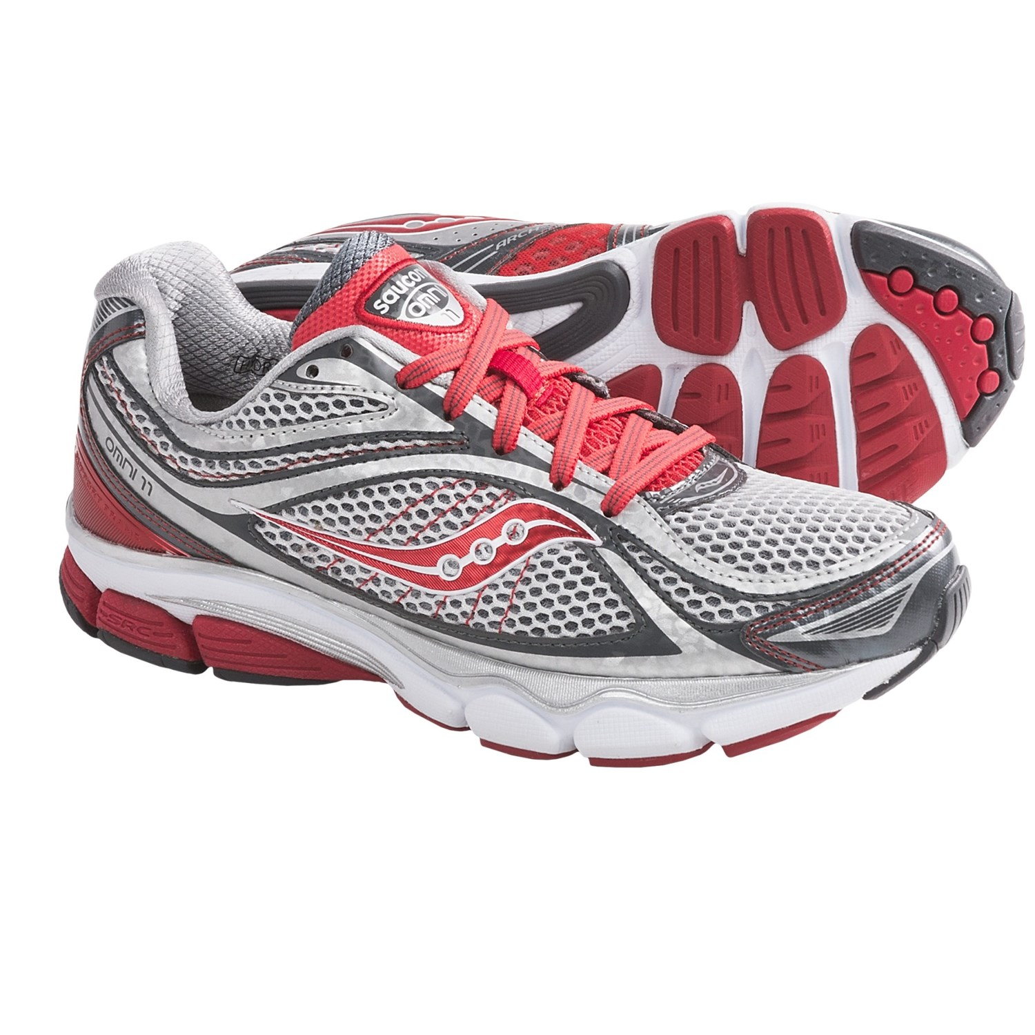 Saucony ProGrid Omni 11 Running Shoes (For Women) in Silver/Grey/Red