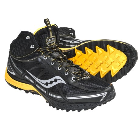 Saucony ProGrid Outlaw Trail Running Shoes (For Men) in Black/Yellow