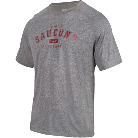Saucony Revel Graphic Shirt - Raglan Short Sleeve (For Men) in Heather Grey/Racer Red