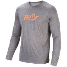 Saucony Revel Graphic T-Shirt - Long Sleeve (For Men) in Heather Grey/ Vizipro Orange - Closeouts