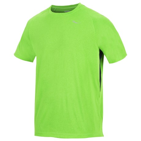 Saucony Revel Shirt - UPF 40+, Short Sleeve (For Men) in Acid Green/Navy