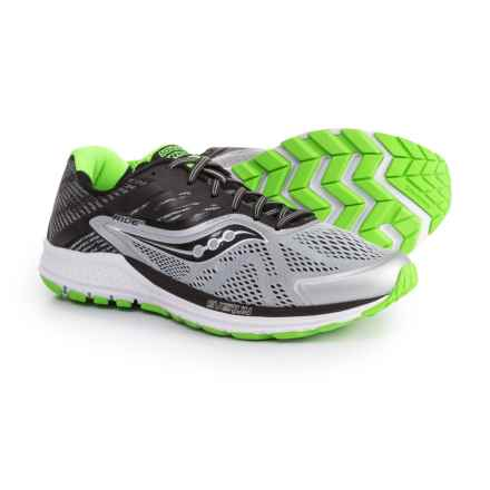 Saucony Ride 10 Running Shoes (For Men) in Grey/Black/Slime - Closeouts
