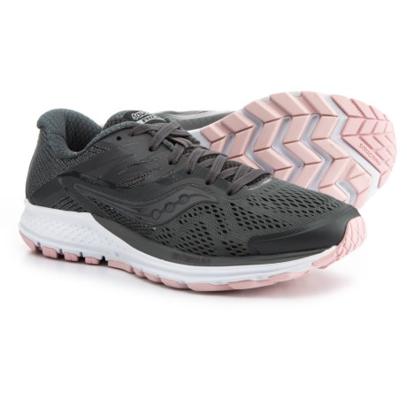 Saucony Ride 10 Running Shoes (For Women) in Gunmetal/Pink