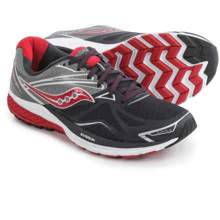 Saucony Ride 9 Running Shoes (For Men) in Grey/Charcoal/Red - Closeouts