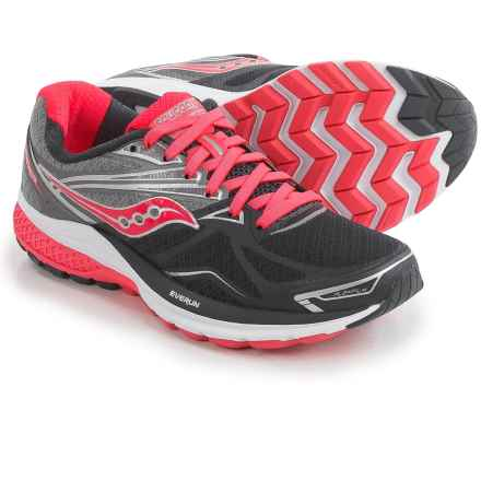 Saucony Ride 9 Running Shoes (For Women) in Grey/Charcoal/Coral - Closeouts