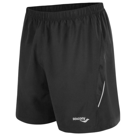 Saucony Run Lux II Shorts - Built-In Brief (For Men) in Black/Black