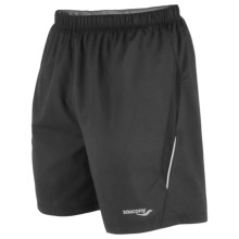 Saucony Run Lux II Shorts - Built-In Brief (For Men) in Black Check - Closeouts