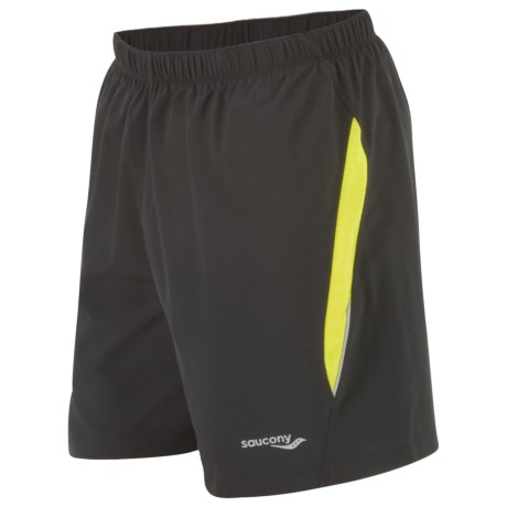 Saucony Run Lux II Shorts - Built-In Brief (For Men) in Black/Sipher