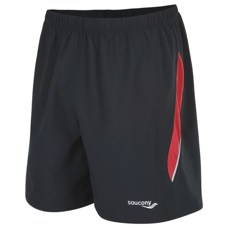 Saucony Run Lux II Shorts - Built-In Brief (For Men) in Black/Strong Red