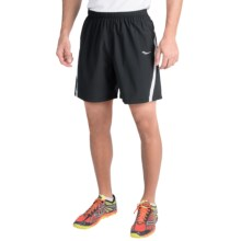 Saucony Run Lux III Shorts - Built-In Brief (For Men) in Black/White - Closeouts
